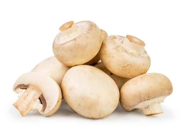 Haufen champignons nahaufnahme auf einem weißen hintergrund. isoliert