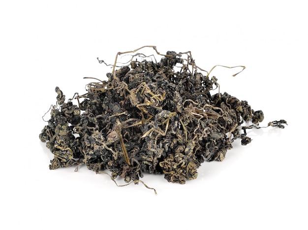 Haufen getrockneter grüner tee