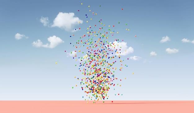 Haufen mehrfarbiger luftballons, die auf dem trendigen naturhintergrund des minimalismus schweben