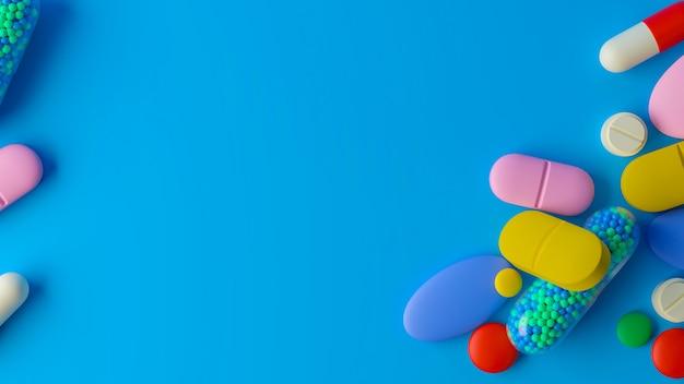 Haufen von bunten pillen 3d-rendering, konzeptionelles bild.