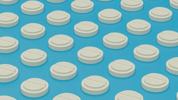 Haufen von bunten pillen und registerkarten 3d-rendering, konzeptionelles bild.