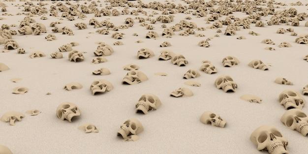 Haufen von schädeln auf sand. apokalypse und hölle konzept. 3d-rendering.