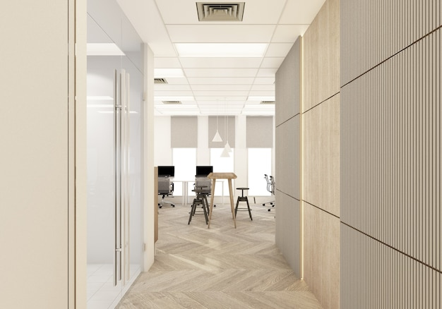 Haupteingang in einem modernen büro mit holzboden und arbeitsbereich im inneren 3d-rendering