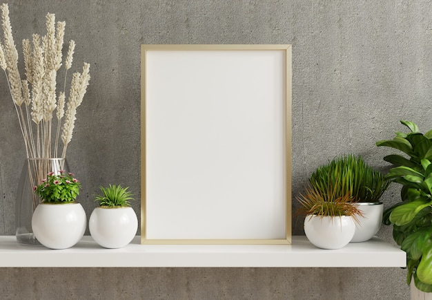 Hauptinnenplakatmodell mit vertikalem metallrahmen mit zierpflanzen in töpfen auf leerem betonwandhintergrund. 3d-darstellung