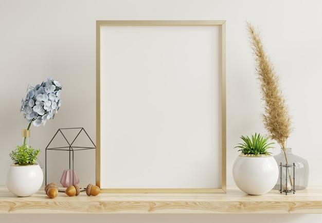 Hauptinnenplakatmodell mit vertikalem metallrahmen mit zierpflanzen in töpfen auf leerer wand. 3d-rendering