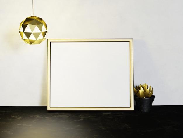 Hauptinnenrahmen verspotten mit goldmetallsukkulenten auf weißem wandhintergrund. 3d-rendering.