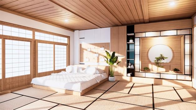 Hauptinnenwandmodell mit holzbett im minimalen design des schlafzimmers. 3d-rendering.
