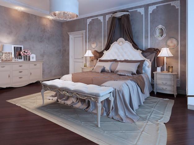 Hauptschlafzimmer im böhmischen stil in braunen farben