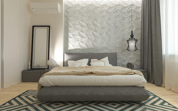Hauptschlafzimmer mit ankleidezimmer 3d-panels in einem modernen stil