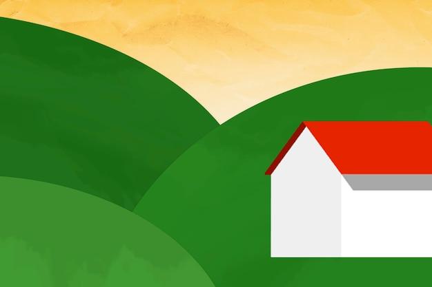 Haus auf einem grünen hügelhintergrund gemischte medien