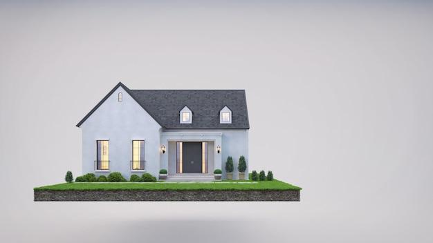 Haus auf erden und rasengras im immobilienverkauf