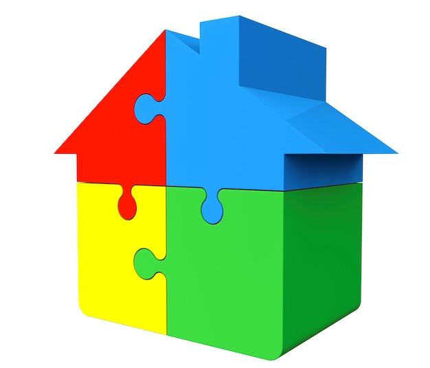 Haus aus puzzles auf weißem hintergrund