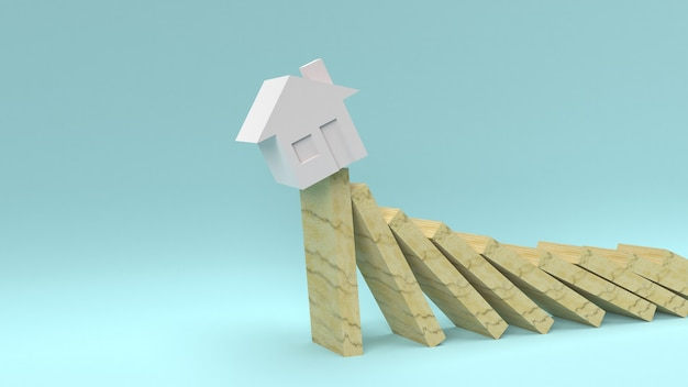 Haus, das von den holzklötzen fällt