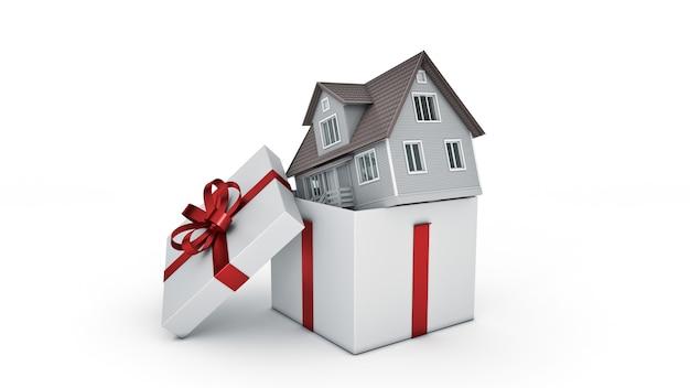 Haus geschenkbox konzept 3d-rendering