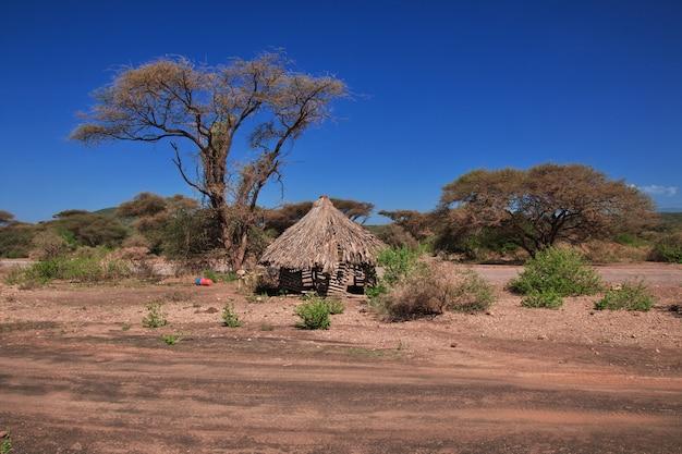 Haus im dorf der buschmänner, afrika