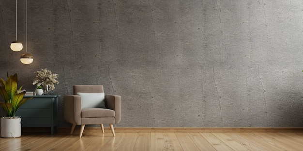 Haus im loft-stil mit sessel und accessoires im zimmer. 3d-rendering