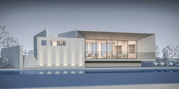 Haus im minimalistischen stil. ausstellungsraum. 3d-rendering.