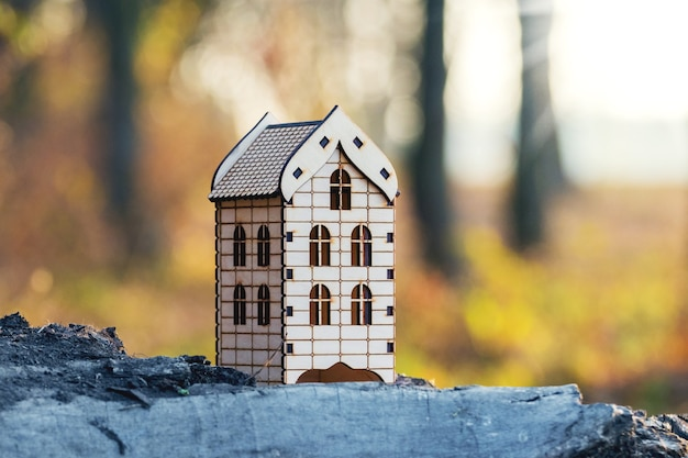 Haus im wald, in einer umweltfreundlichen gegend. spielzeug holzhaus auf einem hintergrund von bäumen in den wäldern