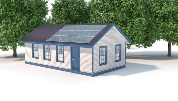 Haus mit sonnenkollektoren auf dem dach nahe den bäumen, 3d illustration