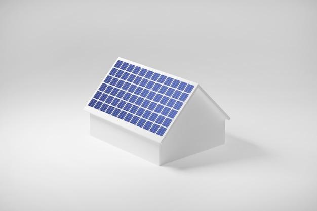 Haus mit sonnenkollektoren auf dem dach, saubere elektrische energie der solarzelle, 3d illustration.