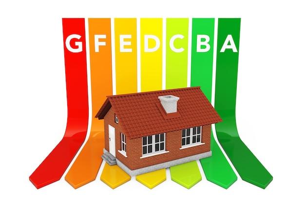 Haus über energieeffizienz-rating-diagramm auf weißem hintergrund. 3d-rendering.