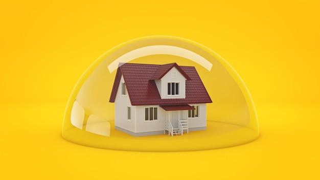 Haus unter einem glasschild-schutzkonzept 3d-rendering