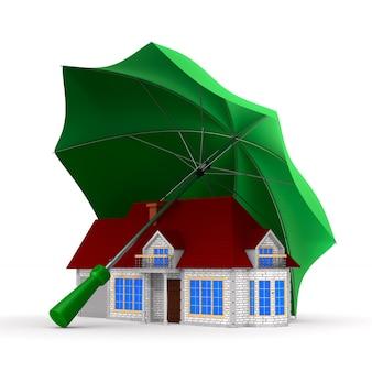 Haus unter regenschirm auf weißem raum