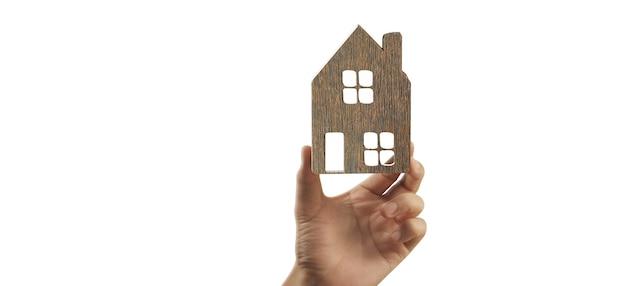 Haus wohnstruktur in einer hand, geschäftshausidee