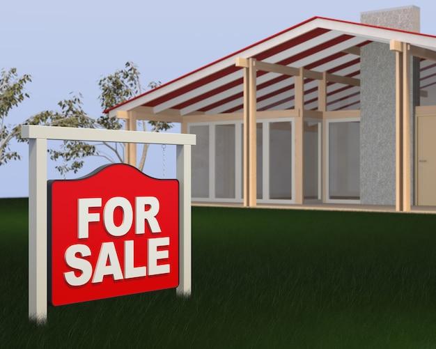 Haus zum verkauf immobilienschild und schönes neues haus.