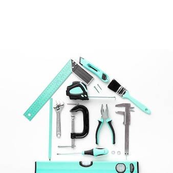 Hausanordnung von der draufsicht der blauen reparaturwerkzeuge