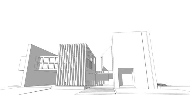 Hausbau-skizzenarchitektur 3d drahtgitterillustration, moderne architektonische perspektivische linie.