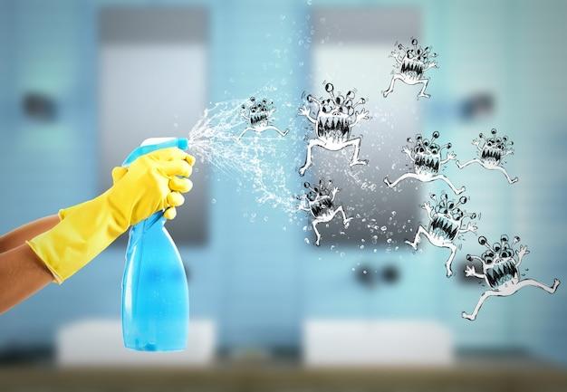 Hausfrau reinigt bestimmt mit viel saubererem spray, um die keime zu besiegen. 3d-rendering