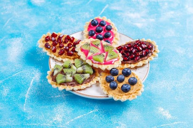 Hausgemachte desserts mit blaubeeren, kiwi-scheiben und granatapfelkernen. Premium Fotos