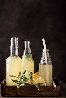 Hausgemachte limonade in kleinen flaschen mit minze und würzigen kräutern an einer dunklen wand