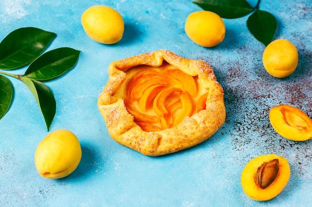 Hausgemachte rustikale aprikosen-galettes mit frischen bio-aprikosenfrüchten.