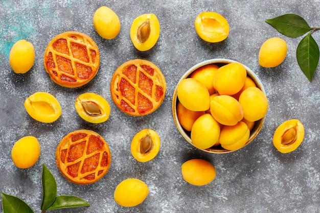 Hausgemachte rustikale mini-aprikosen-torte oder torten mit frischen aprikosenfrüchten.