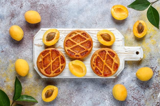 Hausgemachte rustikale mini-aprikosentörtchen mit frischen aprikosenfrüchten
