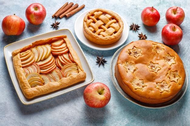 Hausgemachter apfelkuchen, kuchen und galette