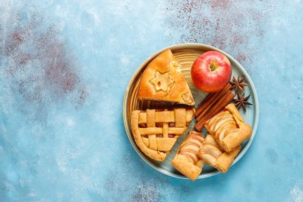 Hausgemachter apfelkuchen, kuchen und galette.