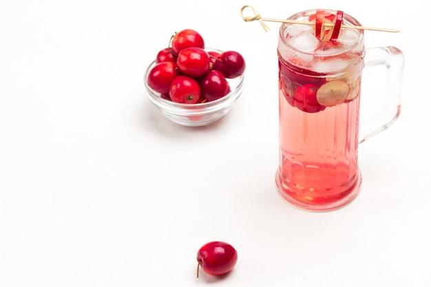 Hausgemachtes erfrischendes sommerapfelgetränk mit eis im glas. geschnittene äpfel am stiel.