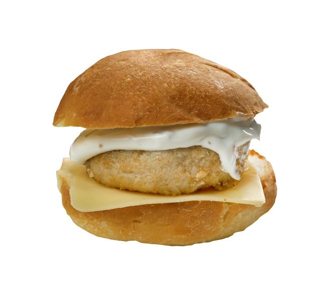 Hausgemachtes filet-o-fish-sandwich aus nächster nähe