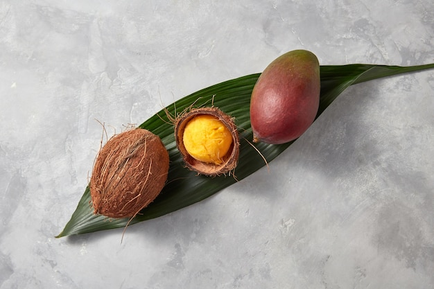 Hausgemachtes mango-eis in einer kokosnussschale auf einem grünen palmblatt mit ganzer mango und kokosnuss auf einem grauen betonhintergrund mit kopienraum. draufsicht