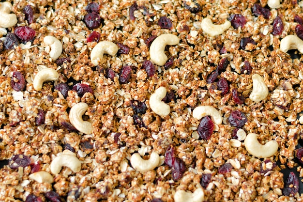 Hausgemachtes müsli mit cashewnüssen und preiselbeeren. hintergrund füllen