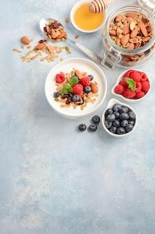 Hausgemachtes müsli mit joghurt und frischen beeren