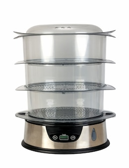 Haushaltsgeräte-dampfgarer zum kochen mit drei transparenten behältern auf weißem hintergrund