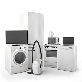 Haushaltsgeräte isoliert auf weißem hintergrund