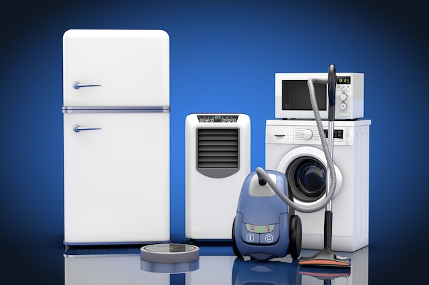 Haushaltsgeräte set auf blauem grund. 3d-rendering