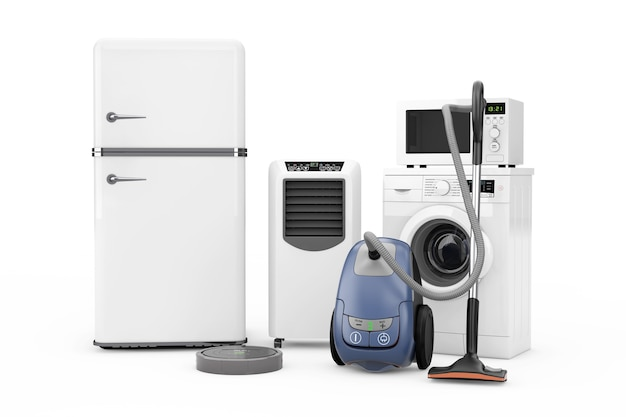 Haushaltsgeräte set auf weißem hintergrund. 3d-rendering