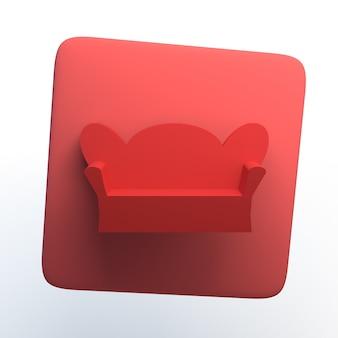 Hausikone mit sofa auf lokalisiertem weißem hintergrund. 3d-darstellung. app.