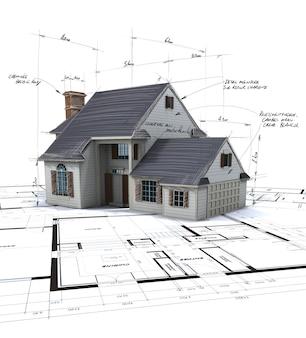 Hausmodell auf blaupausen mit stiftnotizen und korrekturen